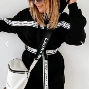 Купить женский черный удлиненный батник с декоративными полосками и поясом онлайн