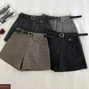 Заказать серые и черные женские шорты в клетку из твида с поясом в комплекте (размер 44-48) по скидке