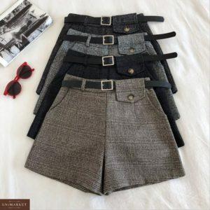 Приобрести женские шорты в клетку из твида с поясом в комплекте (размер 44-48) серого и черного цветов в Украине