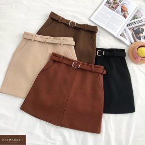 Заказать коричневую, черную, терракот, беж юбку в клетку из твида с поясом в комплекте (размер 44-48) для женщин по скидке