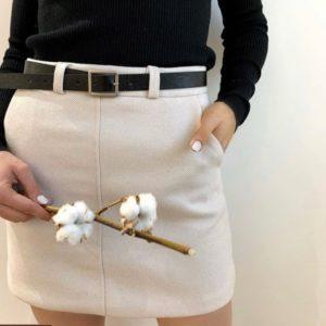 Купить бежевую юбку для женщин из твида в мелкую полоску елочка с ремнем (размер 42-48) по скидке