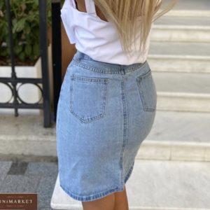 Купить синюю джинсовую юбку с завышенной линией талии по скидке для женщин