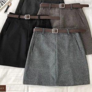 Приобрести серую, коричневую, черную женскую юбку из твида с карманами и поясом (размер 44-48) по скидке