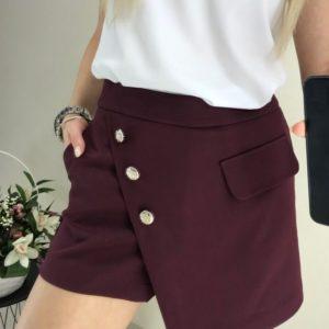 Купить марсала юбку-шорты для женщин из костюмки на запах дешево