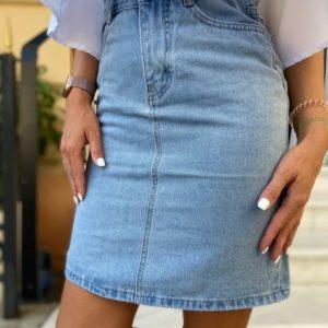 Заказать голубого цвета женскую джинсовую юбку с завышенной линией талии онлайн