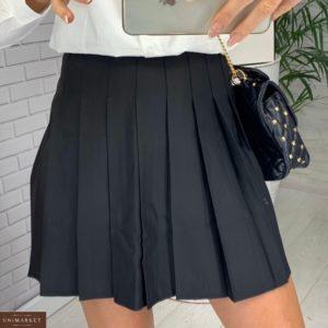 Замовити жіночу спідницю міні в складку чорного кольору за низькими цінами