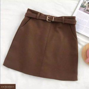 Приобрести коричневую юбку из твида с поясом в комплекте (размер 44-48) для женщин онлайн