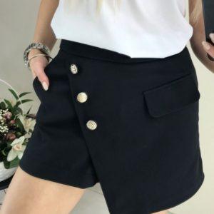 Приобреси черного цвета юбку-шорты из костюмки на запах женскую выгодно
