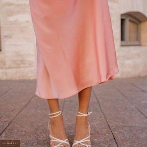 Приобрести пудровую женскую шёлковую юбку миди (размер 40-48) в Украине