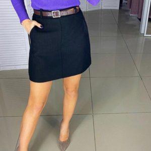 Купить черную юбку из твида с карманами и поясом (размер 44-48) по скидке для женщин