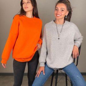 Заказать оранжевый, серый базовый свитшот на флисе для женщин из трехнитки в Украине