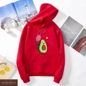Купить красный батник на флисе с принтом авокадо для женщин в Украине на осень