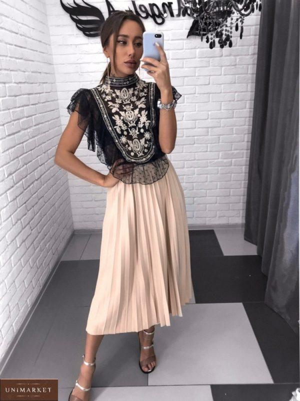 Купить черную блузу с вышивкой в стиле этно для женщин выгодно