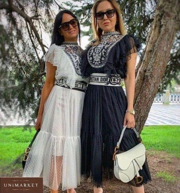 Приобрести белую и черную блузу с вышивкой в стиле этно в интернете для женщин
