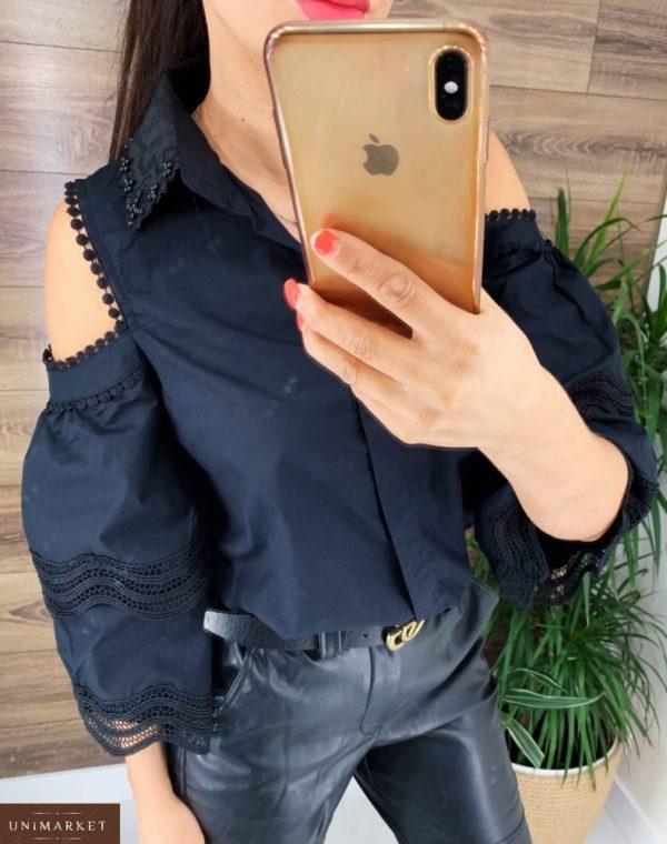 Приобрести женскую блузку с открытыми плечами и свободными рукавами черного цвета по скидке