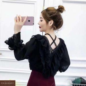 Замовити чорного кольору ніжну блузку з рюшами з довгим рукавом для жінок недорого