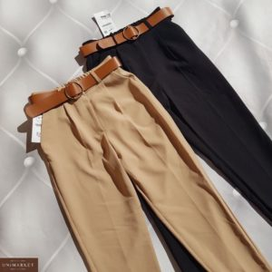Заказать женские зауженные черные, беж брюки из костюмки с поясом (размер 42-50) выгодно