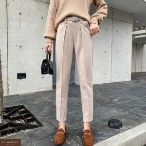 Заказать женские брюки со стрелкой серого цвета из полированного кашемира (размер 44-48) онлайн