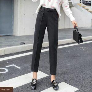Купить черные брюки со стрелкой из полированного кашемира для женщин (размер 44-48) по скидке