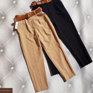 Купить беж, черные зауженные брюки из костюмки с поясом (размер 42-50) по скидке для женщин