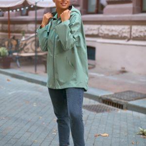 Купить женскую ветровку оверсайз с капюшоном (размер 42-56) цвета оливка выгодно на осень