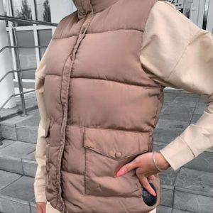 Приобрести мокко женскую теплую жилетку на змейке с карманами в Украине