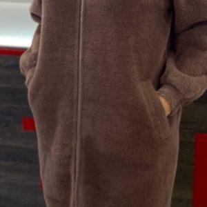 Заказать женский удлиненный кардиган на змейке из шерсти альпаки (размер 42-50) недорого коричневого цвета