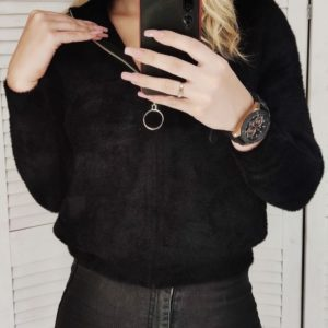 Купить черный женский кардиган на змейке с карманами из альпаки по скидке