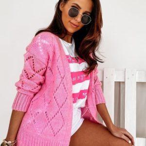 Заказать женский розовый нежный вязанный кардиган без застежки онлайн