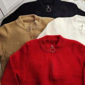 Приобрести красный, белый, беж, черный кардиган на змейке с карманами из альпаки по низким ценам для женщин