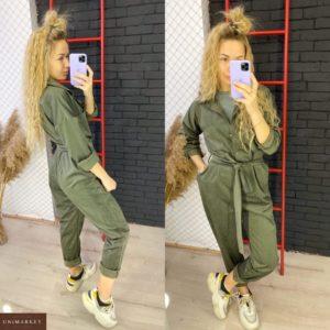 Замовити кольору хакі жіночий Комбінезон з брюками з вельвету на осінь по знижці