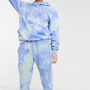 Заказать женский небесный спортивный костюм из трикотажа джерси голубого цвета по низким ценам