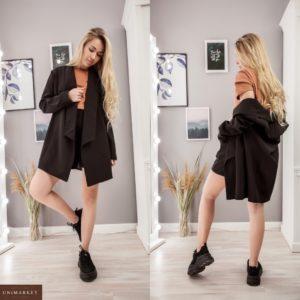 Придбати жіночий Костюм двійка: подовжений піджак + шорти чорного кольору зі знижкою