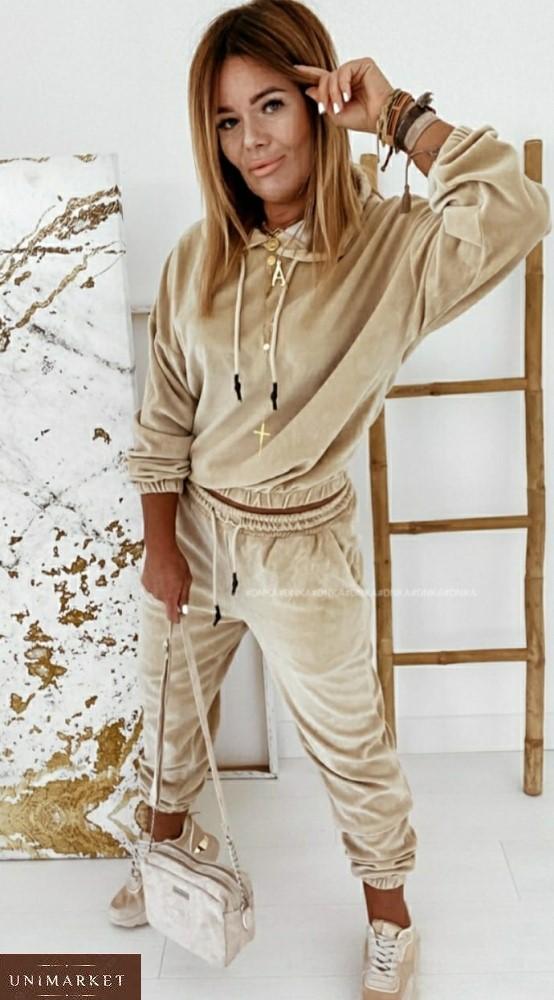 Купить бежевый спортивный костюм из турецкого велюра (размер 42-56) для женщин онлайн