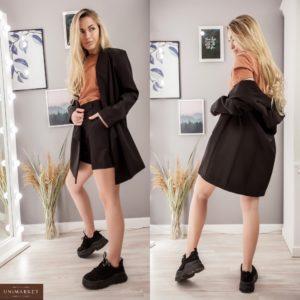 Купити жіночий костюм чорного кольору двійка: подовжений піджак + шорти недорого