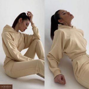 Купить бежевый спортивный костюм для женщин с коротким худи оверсайз выгодно