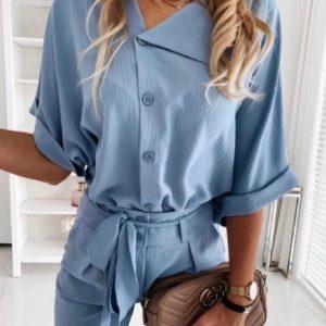 Заказать голубой брючный укороченный женский костюм с блузой (размер 42-48) онлайн