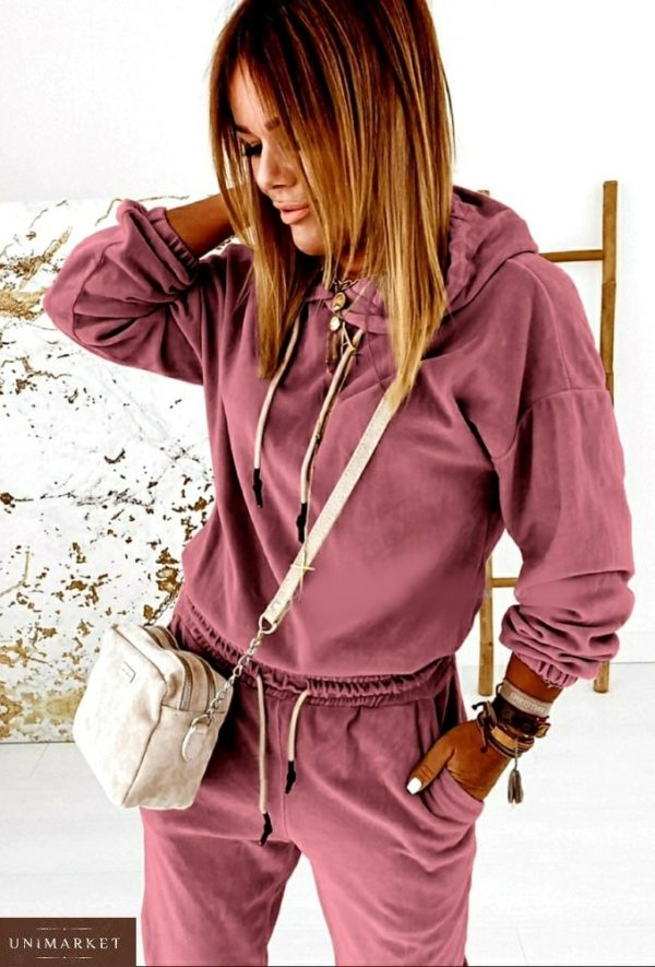 Заказать розовый на осень спортивный костюм из турецкого велюра (размер 42-56) для женщин в интернете