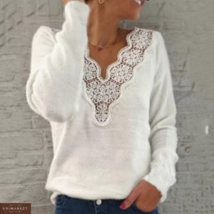 Заказать белого цвета двухстороннюю женскую кофту из ангоры с кружевом онлайн