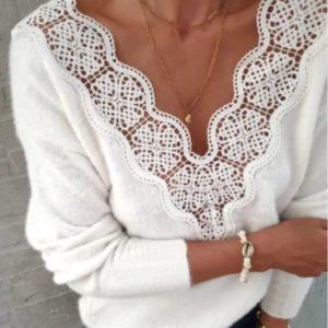 Приобрести белого цвета двухстороннюю кофту из ангоры с кружевом для женщин онлайн