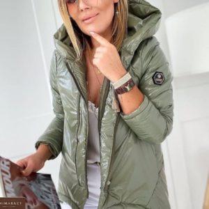 Заказать цвета хаки недорого куртку с капюшоном из плащевки монклер женскую