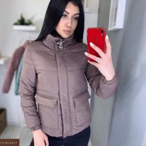 Заказать цвета мокко куртку для женщин с накладными карманами (размер 44-48) дешево