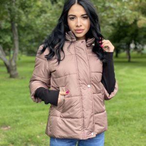 Купить цвета мокко зимнюю куртку на змейке для женщин с укороченным рукавом по низким ценам