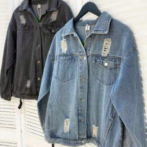 Замовити сіру, синю жіночу подовжену джинсову куртку з блискавками онлайн