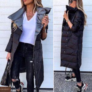 Купить черную/серую двухстороннюю куртку на заклепках женскую с косыми карманами в Украине