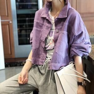 Купити жіночу кольору бузок онлайн коротку кольорову джінсовку вільного крою