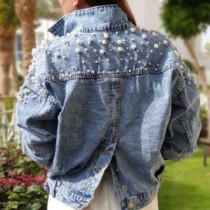 Замовити блакитну для жінок на осінь недорого джинсову куртку варенка з перлами