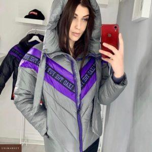 Приобрести женскую куртку с капюшоном с V-образным акцентом серого цвета недорого
