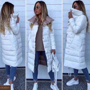 Заказать онлайн белую двухстороннюю куртку на заклепках с косыми карманами для женщин