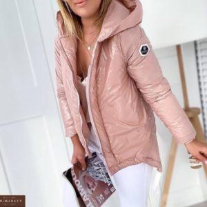 Купить пудра куртку с капюшоном для женщин из плащевки монклер осеннюю дешево